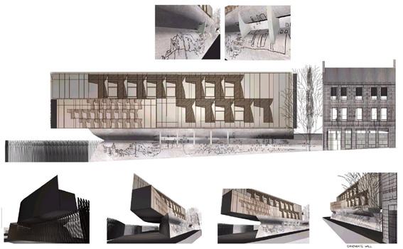 沿Canongate街的立面设计,首层为预制混凝土