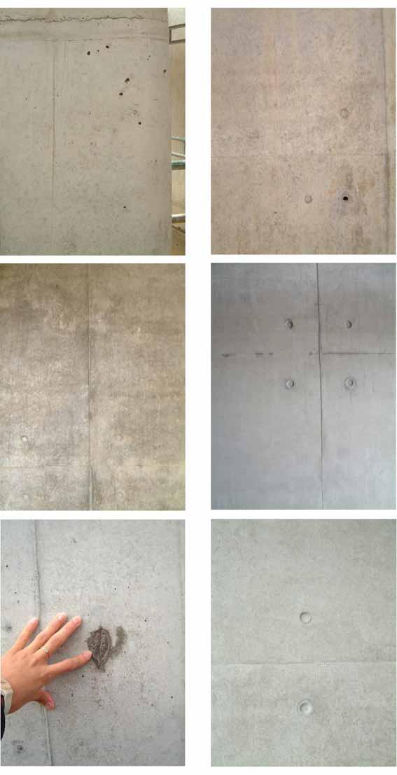 由于施工造成的各種混凝土外觀。左下圖為安騰在Vitra會議中心的現澆混凝土,其余為議會大樓的現澆混凝土