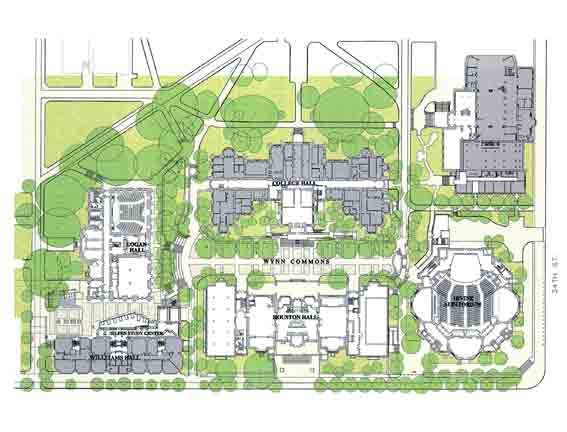 教室分布图:最大的教学楼 williams hall恰好在旧的校园中心近傍,但图片