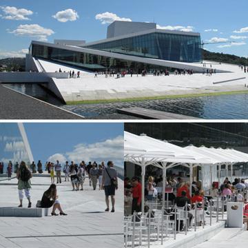 """盡管位置與其他公共空間隔離,""""奧斯陸歌劇院""""吸引了大量的訪客"""