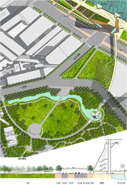 滨水城市广场 手绘平面图