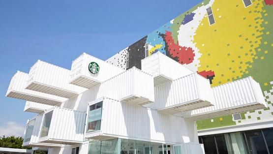 隈研吾在台湾建设集装箱星巴克咖啡店